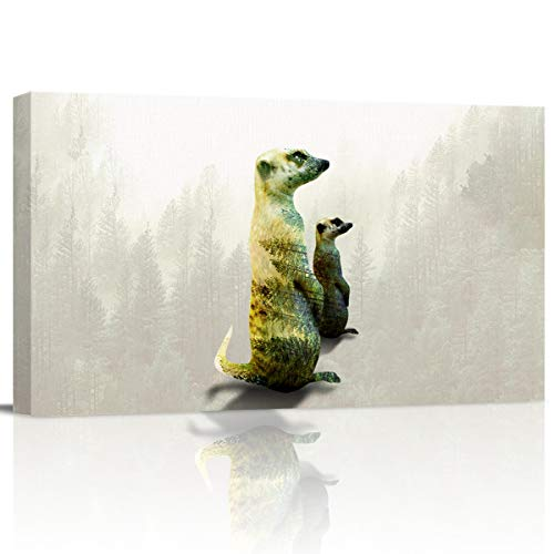 Canvas Wall Art Pictures Canvas Artwork Prints, Double Exposure of Two Standing Meerkats Contemporary Decor for Home Living Room Bedroom Decoration Office Framed Ready to Hang 12''x24''