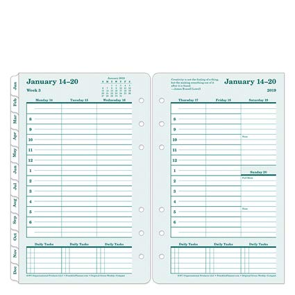 Compact Original 100% Recycled Weekly Ring-Bound Planner - Jan 2019 - Dec 2019