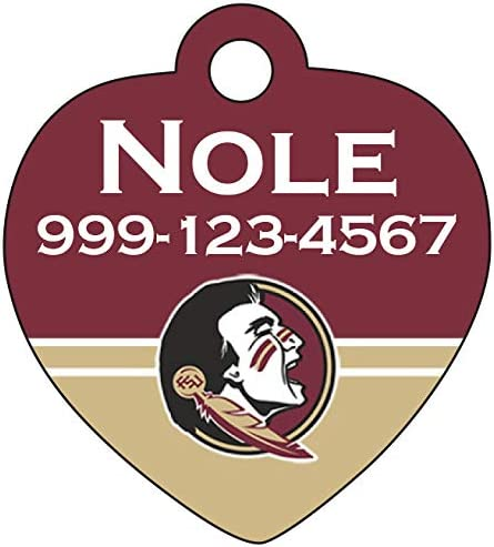 Florida State Seminoles Pet Id Tag for Dogs /& Cats Personalized w// Name /& Number