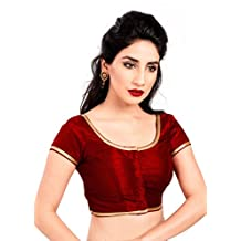 Maroon Party-wear Silk Ready-Made Indian Saree Blouse - X-193SL