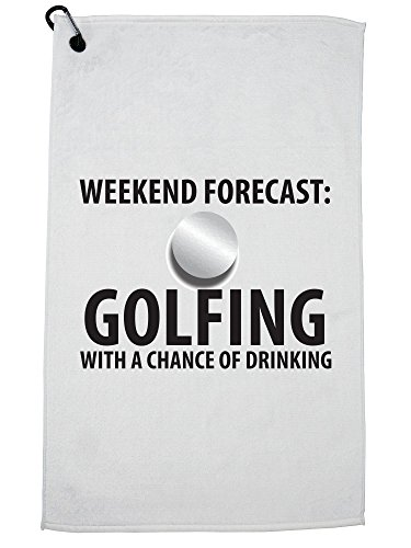 Hollywood Thread Golfing With a Chance of Drinking Funny Golfer Golf Towel with Carabiner Clip by Hollywood Thread