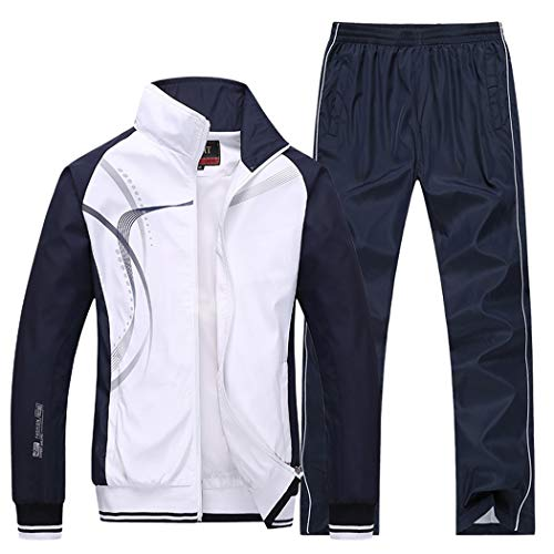 Modern Fantasy Men's Athletic Striped Tracksuit Joggers Running Sports Style Sweat Suits Set White L ()
