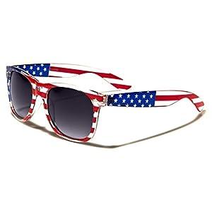 Sunglasses Classic 80's Vintage Style Design (USA Flag Smoke Lens)