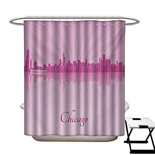 Chicago Skyline Shower Curtains Fabric United States Scenery in Soft Tones Urban Downtown Illustration Bathroom Decor Set with Hooks W48 x L84 Pale Pink Fuchsia -
