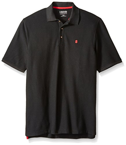 IZOD Men's Big and Tall Advantage Performance Solid Polo, Black, 4X-Large Big