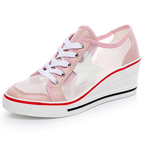 ROSEUNION Damen Sneakers Canvas Sportlich Low Top Keilabsatz Schnürer Sneaker-Wedges Sportschuhe Größe 35-43 Stil-2 Pink