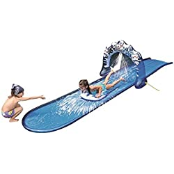 "Pool Central 196"" Blue and White Ice Breaker Inflatable Ground Level Water Slide"