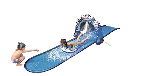"""Pool Central 196"""" Blue and White Ice Breaker Inflatable Ground Level Water Slide"""