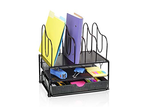 (CAXXA Desk Organizer with Double Trays, Sliding Drawer with 2 Adjustable Drawer Dividers and 5 Upright Sections | Paper Folder Binder Letter Holder Office Storage, Black)