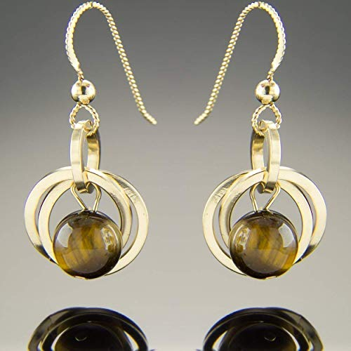 Brown Tiger Eye Natural Gemstone Small Dangle Earrings with 14K Yellow Gold Fill