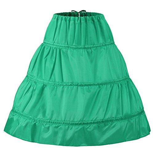 NUOMIQI jupe jupe crinoline manches courtes 3 jupons Vert