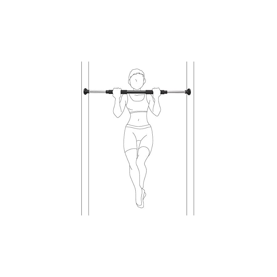 Relaxdays Pull Up Bar Adjustable Fitness Door Bar Exercise Home Bar Chin Up, Black