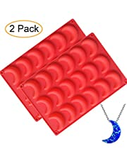 Fewo 2 Pack Moon Ice Cube Tray Silicone Crescent Mold for Chocolate Candy Gummy Jello Jelly Resin Cake Mini Soap Wax Crayon Melt