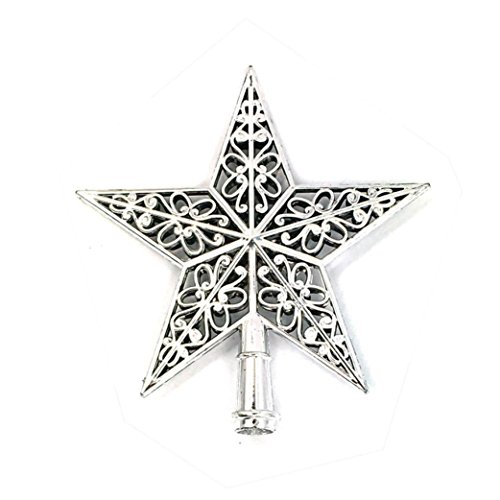 Sunfei Christmas Tree Top Sparkle Stars Hang Xmas Decoration Ornament Treetop Topper (Silver)