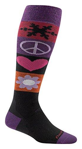 Peace Snow (Darn Tough Peace Love Snow Over The Calf Cushion Socks - Women's Black Medium)