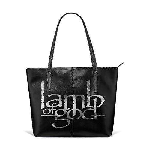 Trisharosew Womens Lamb of God Music Band Handbag Tote Bag Portable Single Shoulder Bag Leather Canvas Bags Zipper Bag ()
