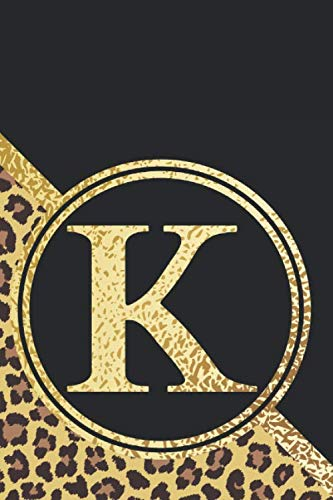 Letter K Notebook: Initial K Monogram Blank Lined Notebook Journal Leopard Print Black and -
