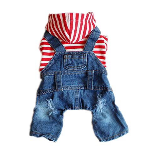 DOGGYZSTYLE Pet Dog Cat Clothes Blue Striped Jeans Jumpsuits One-Piece Jacket Costumes Apparel Hooded Hoodie Coats for…