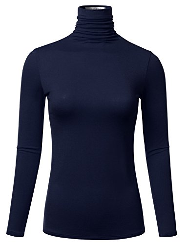 FLORIA Womens Long Sleeve Lightweight Turtleneck Top Pullover Sweater NAVY 1XL Athletic Long Sleeve Sweater