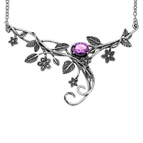 PZ Paz Creations 925 Sterling Silver Floral Swirl Gemstone Statement Necklace (Amethyst)