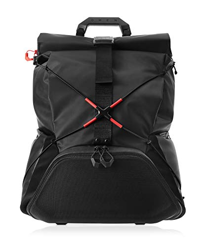 OMEN X by HP Transceptor Roll-Top Gaming Backpack – Black/Red -Adjustable Chest & Shoulder Straps – Esports – Gear Organizer – Reinforced Top Handle – TSA Compliant – RFID Pocket (3KJ69AA#