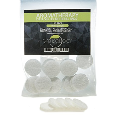 (25 Pack) 17.5mm Aromatherapy Diffuser Locket Necklace Refill Pads (White) fits 25mm (Aromatherapy Diffuser Pads)