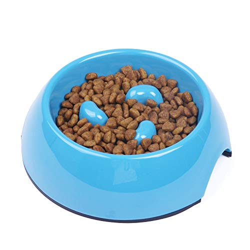 Super Design Three Columns Style Melamine Non-Skid Slow Feed Bowl, for Dog and Cat, Small, Blue