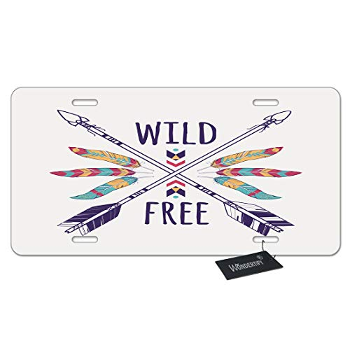 WONDERTIFY License Plate Wild Free Colorful Owl Crossed Ethnic Arrows Feathers and Tribal Boho and Hippie Style Decorative Car Front License Plate,Metal Car Plate,Aluminum Novelty License Plate ()