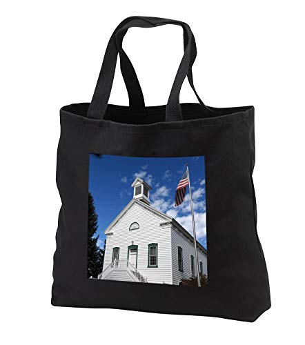 Jos Fauxtographee- Historical Pine Valley Church - The LDS Church in Pine Valey Utah with a flag on pole next to it - Tote Bags - Black Tote Bag 14w x 14h x 3d (tb_291377_1) by 3dRose