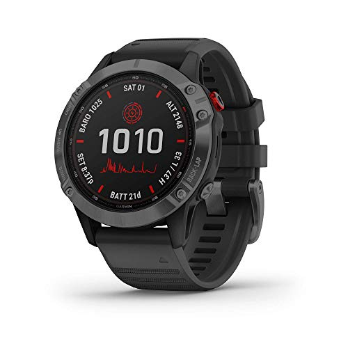 Garmin fēnix 6 Pro Solar, Solar-powered Multisport GPS Watch, Advanced Training Features and Data, Slate Gray with Black Band (Renewed)