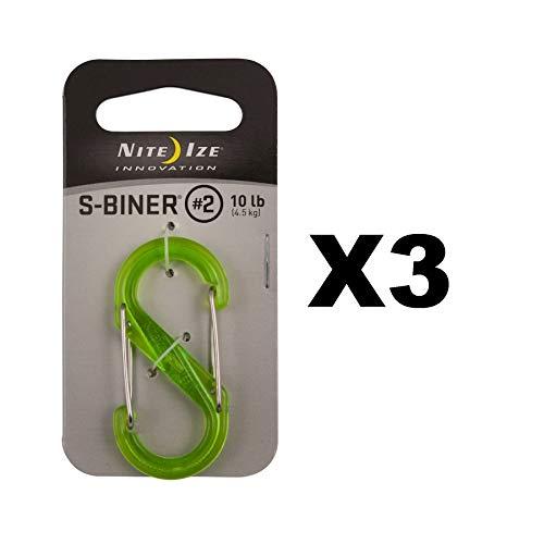 Nite Ize S-Biner Plastic #2 Translucent Lime Dual-Gated Carabiner 10lb (3-Pack)