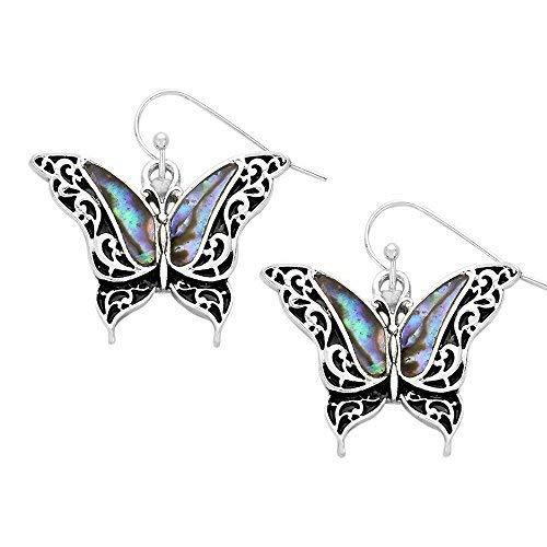 (Liav's Butterfly Fashionable Earrings / Vine Filigree / Abalone Paua Shell / Dangle Post Fish Hook / Unique Gift and Souvenir by)