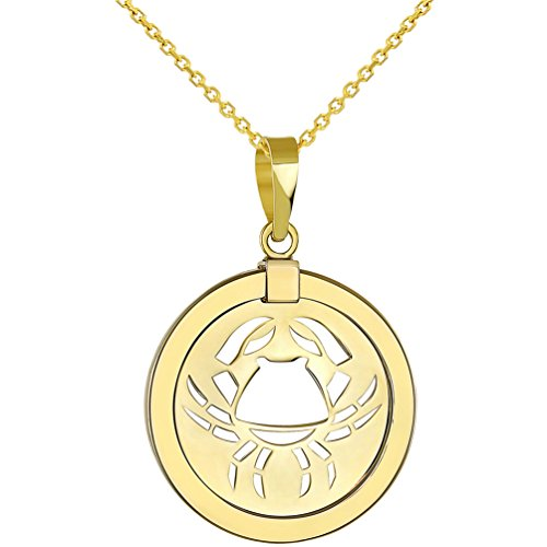 - 14K Yellow Gold Reversible Round Cancer Crab Zodiac Sign Pendant with Chain Necklace, 18