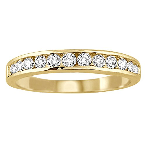 Diamond Anniversary Ring (AGS Certified 1/2 Carat TW Channel Set Diamond Band in 10K Yellow Gold)