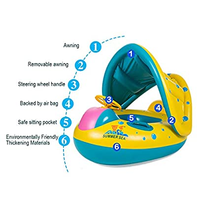 New PIKAqiu33 2020 Upgrade Baby Swimming Circle Inflatable Sunshade Swimming Pool Ring Float Boat Seat Baby Kids Toddler Raft: Toys & Games