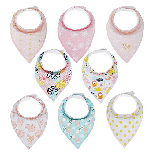 (Baby Bandana Bibs - 100% Cotton - 8 Pack Super Absorbent, Soft, Stylish Drool Bibs for Girls and Boys (Pink))