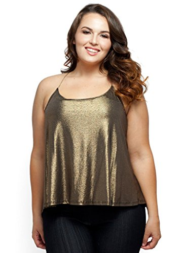 Stylzoo Women's Plus Size Metallic Stretch Crossed Back Top Olive 3X