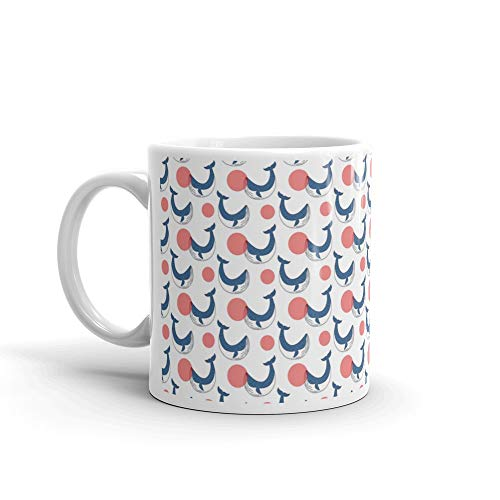 Whale Tail Spoiler - Seamless Pattern With Hand Drawn Cute Whales Whale Tea Mugs Ceramic Cups 11 Oz