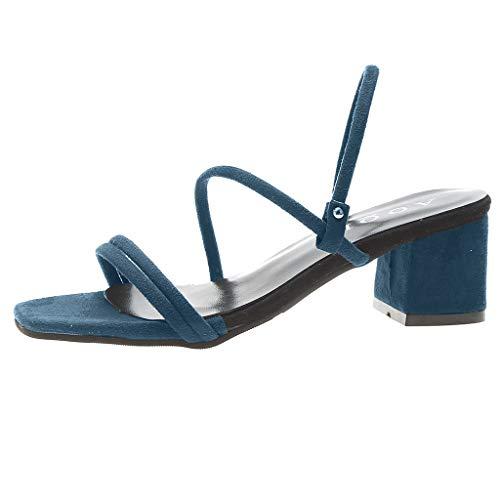 Spiaggia Quadrata Scarpe Traspirante Con Sandali Fascia Donna Testa Elastico Polpqed Tinta Cinturino A Casual Blu Unita Tacco Quadrato Da fHqFSxO