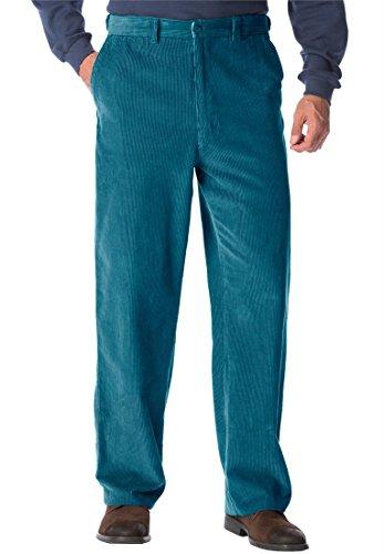 Big & Tall Eight-Wale Corduroy Plain Front Pants (Winter Blue,Big - 58 38)