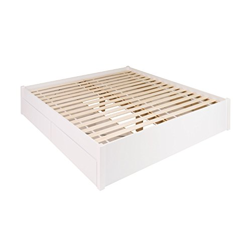 King Bed with Drawers, White