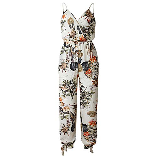 ECOWISH Women's V Neck Floral Print Spaghetti Strap Split Beam Foot Jumpsuit Rompers White M