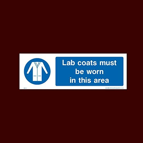 High Visibility Sign (Lab coats must be worn in this area Plastic Sign with double sided fixing tape (MPC4) - Personal Protective Equipment, Lab Coats, High visibility, Garments)