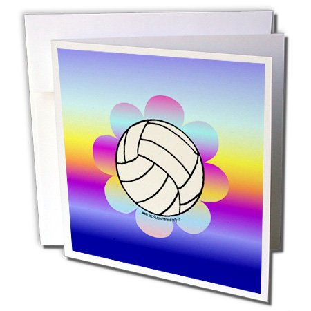 Volleyball Flower on Rainbow - Greeting Cards, 6 x 6 inches, set of 6 (gc_12405_1)