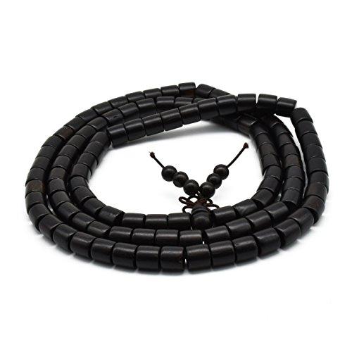 (Zen Dear Unisex Natural Ebony Wood Buddhist Prayer Bead Necklace Bracelet Tibetan Prayer Mala Beaded Black (08mm 108 Barrel Beads))
