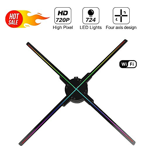 GIWOX 2019 3D Hologram Projector Fan 65 with WiFi,Trade Show Display,Four-Axil Design and Detachable Blades,720P Hi-Resolution and 724Pcs Beads,Upload by APP and TF Card Holographic Fan