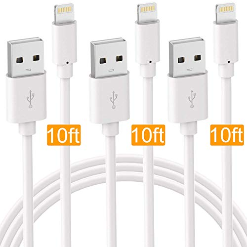 (Boost Phone Chargers 3Pack 10FT Fast Charger USB Power Cable, Charge & Sync Cord Compatible with iPhone XR XS MAX X iPhone 8 8Plus 7 7 Plus 6S Plus 6 Plus SE iPad - White)