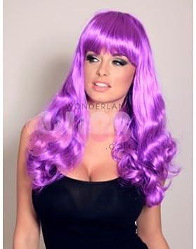 Katy Perry Style púrpura brillante peluca largo rizado con Fringe NUEVO