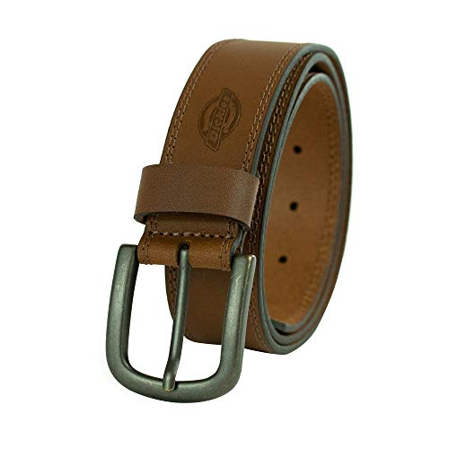 Dickies 100% Leather Jeans Belt with Stitch Design and Prong Buckle, Tan, 34