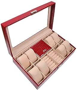 8 Piece Watch and Jewelry Organizer Case, Red